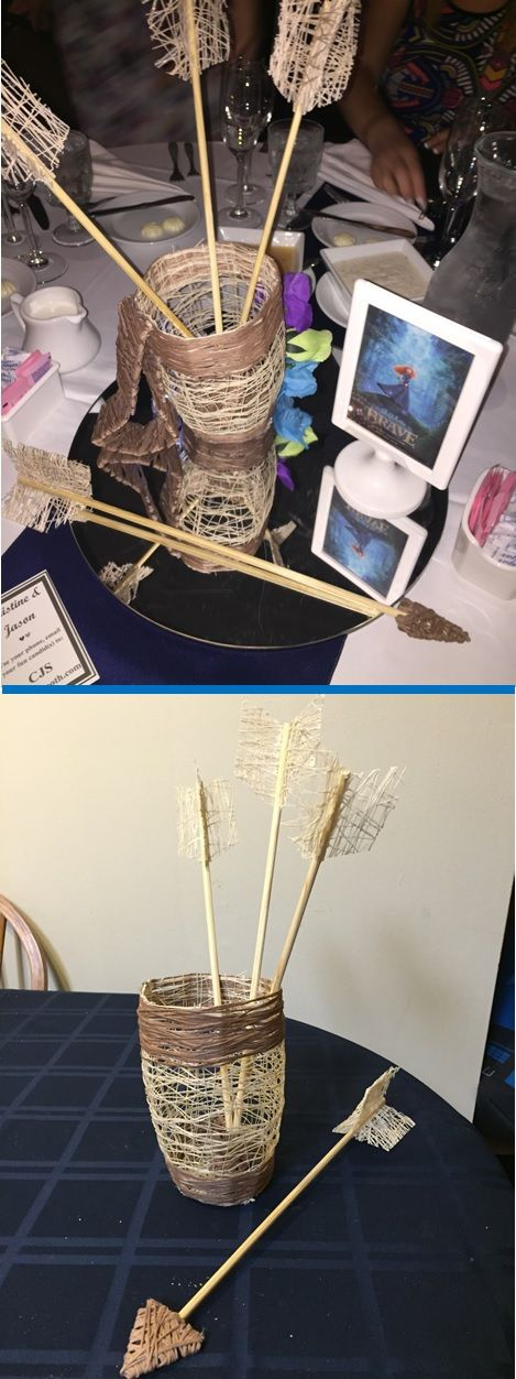 Unique Disney Wedding Centerpieces made by @jacquelinesander. DIY Disney characters made out of string. Brave table with Merida's quiver and arrows! Could also be great for Disney themed birthday. Made by @JacquelineFoss