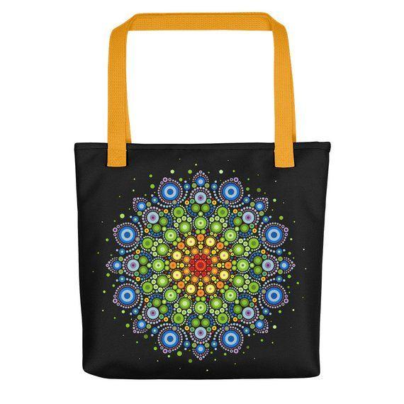 Beautiful Dot Mandala Tote Bag In A Rainbow Of Colors Dot Mandala