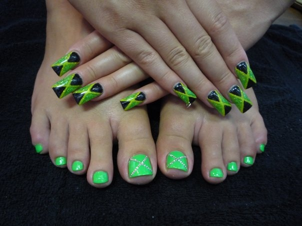 free hand acrylic flags on nails and painted toes with ...