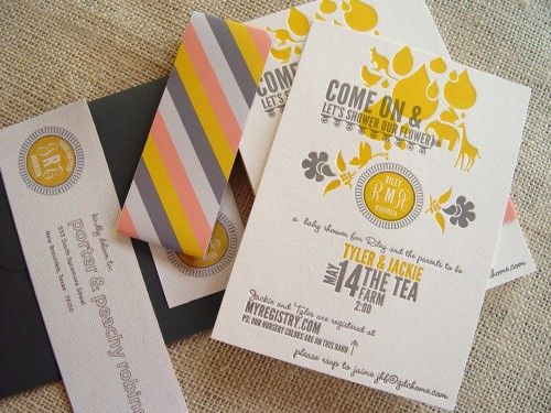 gray, yellow, & pink baby shower inviteModern Baby, Colors Combos, Nurseries Colors, Gold Letterpresses, Baby Shower Invitations, Cute Ideas, Colors Palettes, Colors Schemes, Gold Nurseries