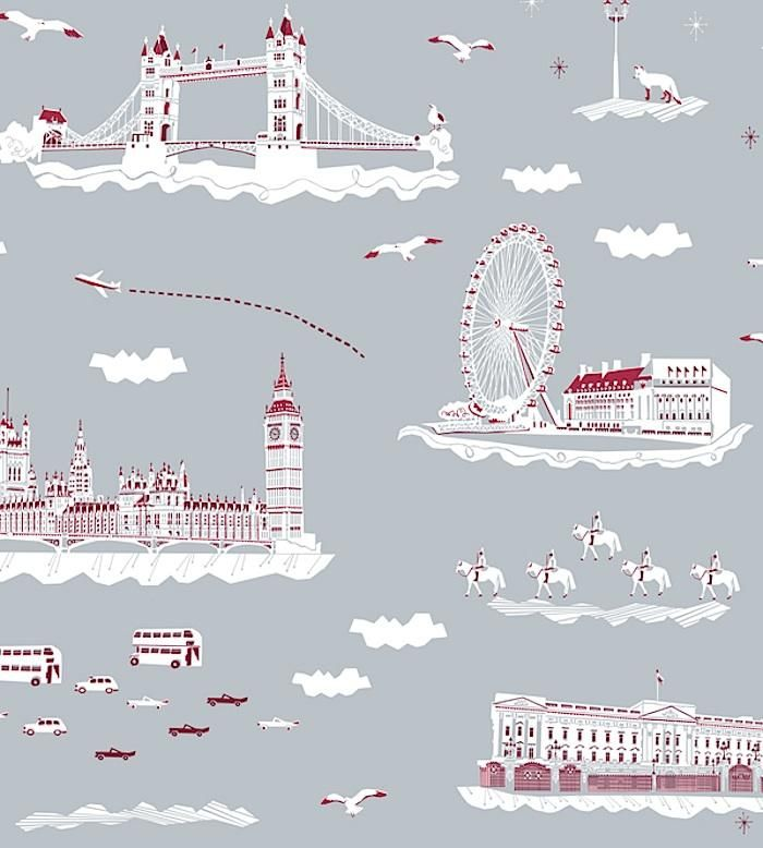 Kids room if I did a London theme. Wish You Were Here in London Wallpaper