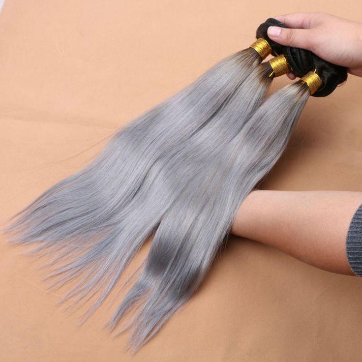 Ombre Malaysian Straight Virgin Hair Bundles Human Hair Extension 3 Pcs Lot Dark Root Hair Product Two Tone Gray Hair Weave