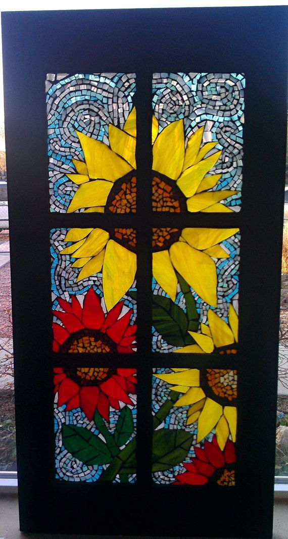 Glass on Glass Mosaic Stain glass Sunflowers by MosaicMaddness, $300.00
