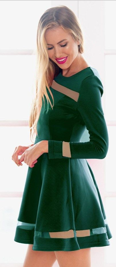 Cute green skater mini dress! Ideal for holiday, club, cocktail party, night out, wedding guest, or semi-formal occasion.    More at http://www.cutedresses.co/product/skater-long-sleeves-mesh-panel-flare-casual-dress