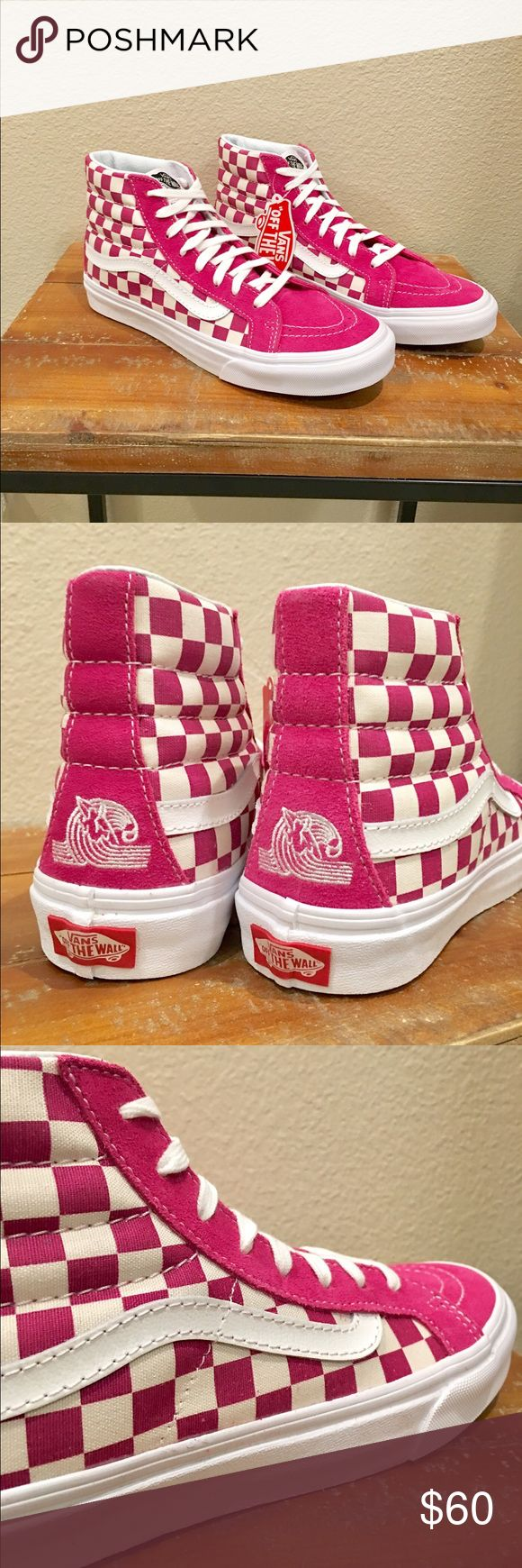 Vans Sk8 Hi Slim Us Open Checkerboard Vans NWB. ♀️ So rad! Dark pink and white checkerboard Slim Sk8. Women's size 8.5. I'm born and raised in The OC and these are straight HB OG Commemorating 2016 Vans US Open of Surfing in Huntington Beach, CA. Brand new. Perfect condition. Dark pink suede, white leather stripe, white laces on pure white walls. If you're Old Skool like me then you know how special these babies are♀️ Vans Shoes Sneakers
