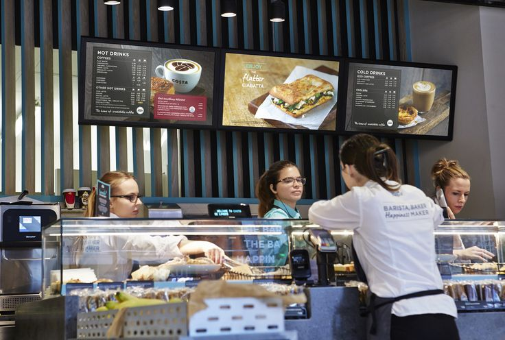 Costa Fresco digital menu board - lovely photographic style and moving animation