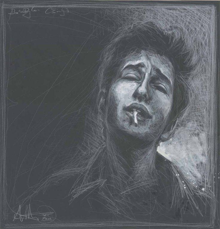 """""""Bob Dylan (Early)"""" weißer Stift, weiße Tusche Wvz. 5046 Format: 460 x 445 mm November 2016"""