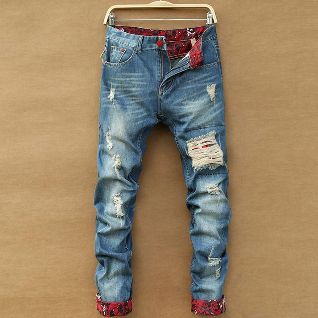 Тенденция 2015 новое поступление корейский стиль рваные джинсы для мужчин, Мода лоскутное высокое качество прямые джинсы брюки 11AK021
