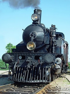 Front Shot of a Steam Train.