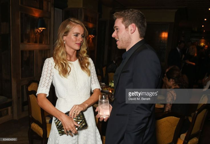 Cressida Bonas (L) and Richard Madden attend a dinner co-hosted by Harvey Weinstein, Burberry & Evgeny Lebedev ahead of the 2017 BAFTA film awards in partnership with Grey Goose at Little House Mayfair on February 10, 2017 in London, England.