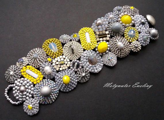 Lemon Frost Bracelet with Labradorite Hematite Quartz with