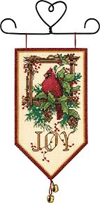 "Cardinal Joy Mini Banner - Cross Stitch Kit $6.37 at 123Stitch.com. Kit includes 14 ct. Ivory Aida, cotton threads, wire hanger, jingle bells, needle and easy to follow instructions. Finished size: 5"" x 10"". Designer - Anita Phillips"