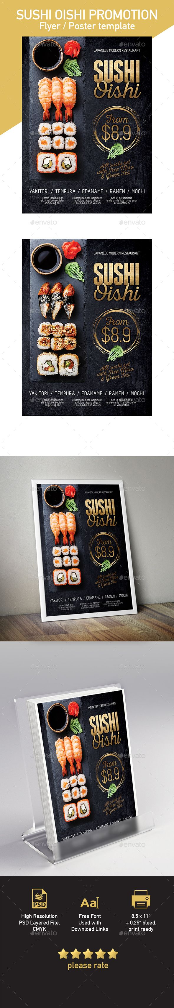 Japanese Sushi Flyer / Poster Template - Restaurant #Flyers Download here:  https://graphicriver.net/item/japanese-sushi-flyer-poster-template/20164433?ref=alena994