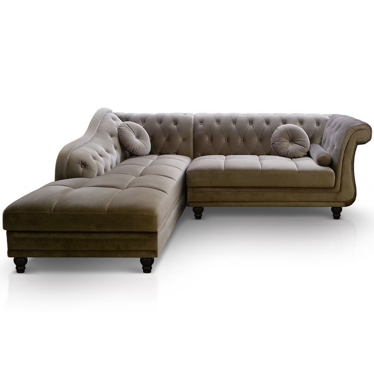 Canapé d'angle droit Empire Taupe Velours style Chesterfield