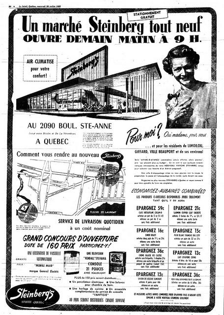 Steinberg Boul Ste-Anne (Canardière) Québec Juillet 1955 by GrocerymaniaSam, via Flickr