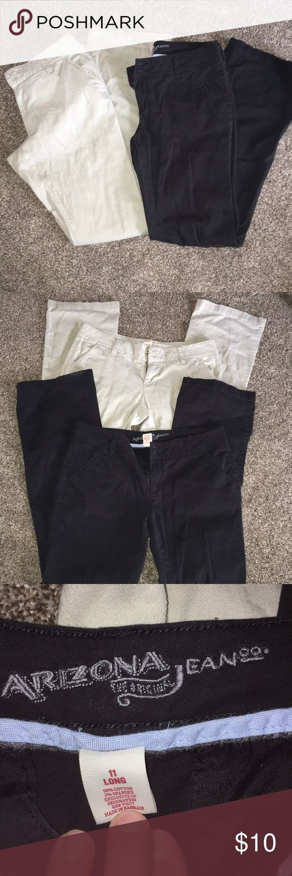 Two pair Arizona khaki style pants black/tan used Two pair size 11 long Arizona brand 97% cotton 3% spandex uniform style khaki style casual pants. They are well worn and have some pilling between the legs but they are still in good used shape and perfect for that job that requires these kind of pants. My daughter had to wear them for a summer internship at the Indianapolis 500 so they were only worn for one summer but they were worn and washed a lot so they are a bit faded but that's why…