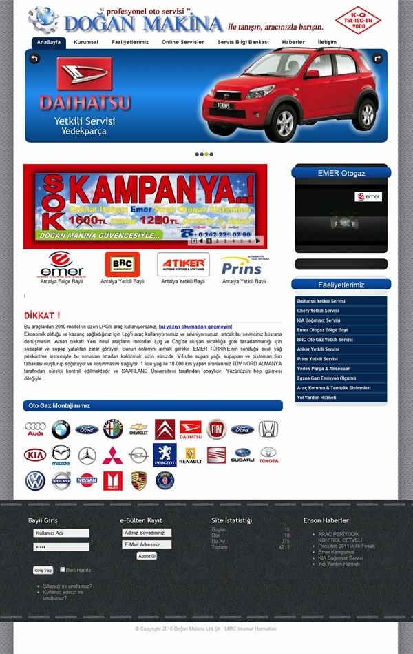 Dogan Machinery Auto Service Co. Web Design