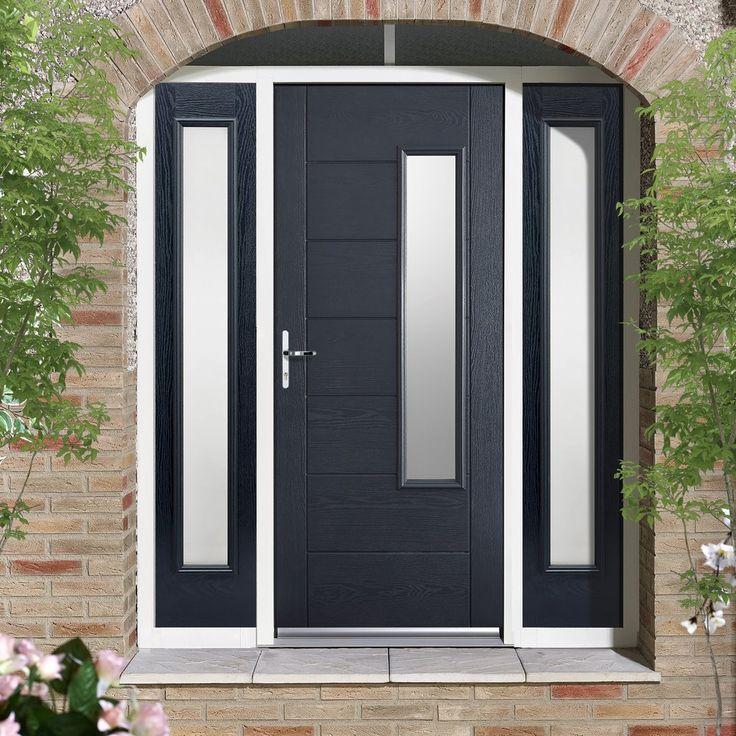 GRP Grey Newbury Glazed Composite Door with Two Sidelights. #externaldoor #frontdoor #entrance