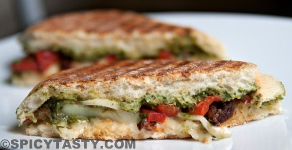 Vegetable Panini Sandwich with Spinach Pesto
