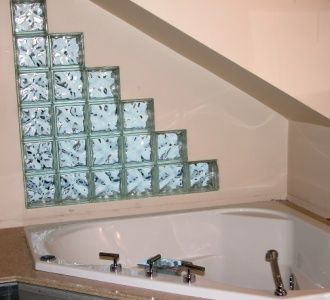 sloped wall bathroom | Triangular Glass Blocks And Using Them On An Angle - Tiling, ceramics ...