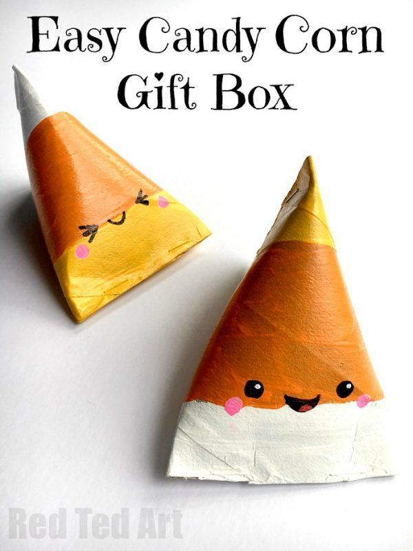Candy Corn Gift Box DIY - super duper cute TP Roll Treat Boxes for Halloween. Aren't these adorable? Quick and easy to make too!! Happy Trick or Treating!
