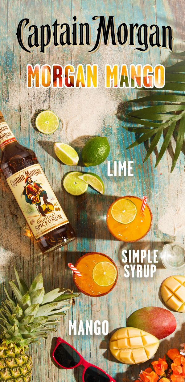 Vacation calls for no phones, a lot of sun, and fresh spiced rum cocktails. Wherever your travels take you, reward yourself with a Captain Morgan cocktail. To make a Morgan's Mango, combine 1.5 oz Captain Morgan Original Spiced Rum, .5 oz fresh lime juice, .5 oz simple syrup, and 2 oz mango juice in a cocktail shaker. Shake and strain over ice into a rocks glass. Garnish with lime wheel and raise a glass of this radical rum punch.