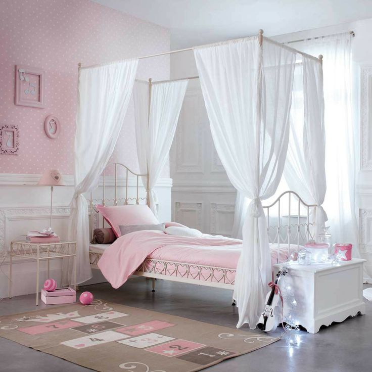 Superbe Lit A Baldaquin Fille #2: Bedroom:Pretty And Cozy Girls Bedroom Ideas White And Purple Girls Bedroom  Ideas Furniture Teenage Girl Bedroom Designs For Small Rooms