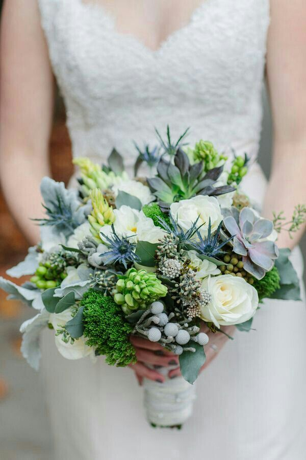 Beautiful Bridal Bouquet Featuring: Blue Eryngium Thistle, White Roses, Green/Dark Green & Gray/Green Succulents, Scabiosa Pods, Silver Brunia, Green Trick, Dusty Miller, Bud Stage Star Of Bethlehem, Green Seeded Eucalyptus·····