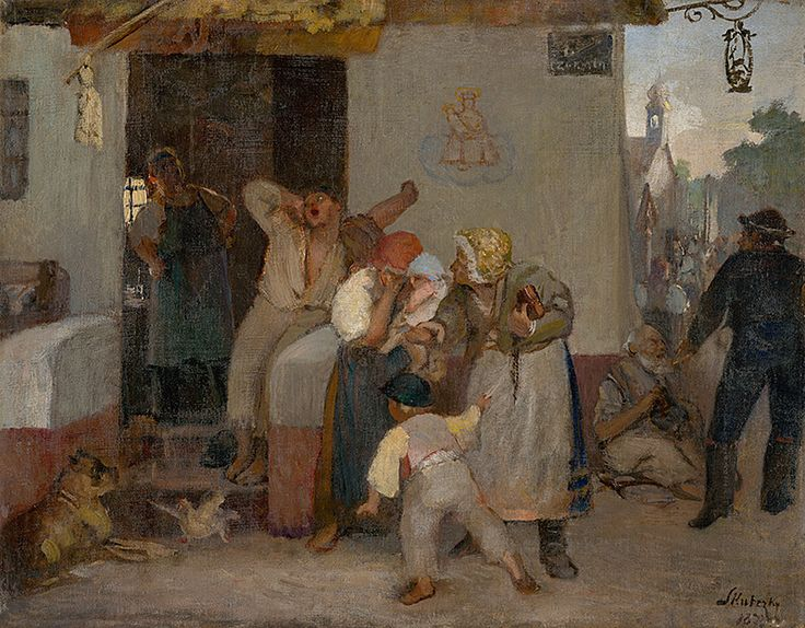 Before the tavern by Dominik Skutecký, 1873. Slovak national gallery, CC BY