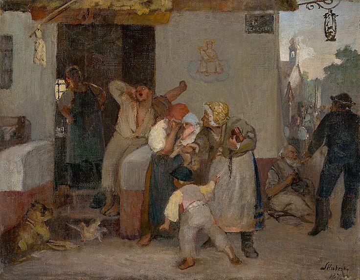 Before the tavern by Dominik Skutecký, 1873. Slovak national gallery, CC BY