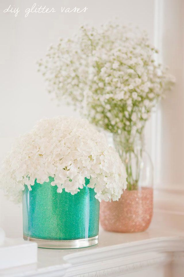 DIY Glitter Vases - Recycle jars or purchase nice glass open mouth vases or glassware to make a glittery centerpiece.