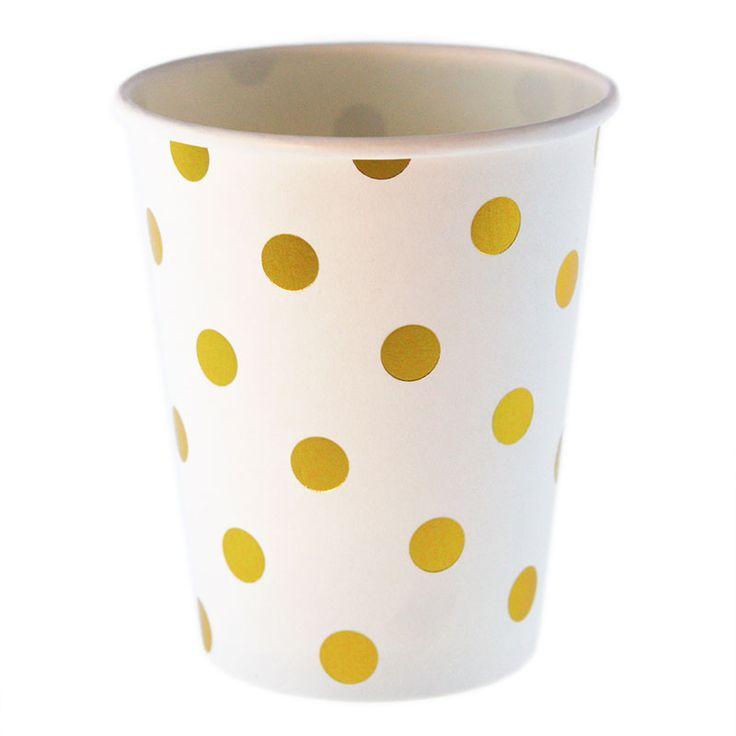 White and gold foil polkadot cups by the stylish partyware brand Sambellina. Pack of 12. http://www.hipandhooray.com.au/white-with-gold-foil-polkadot-cups-12pk