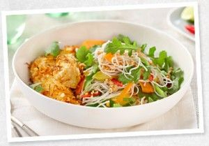 Wasabi and Rice Noodle Salad with Coconut Crusted Chicken - Tripod Farmers
