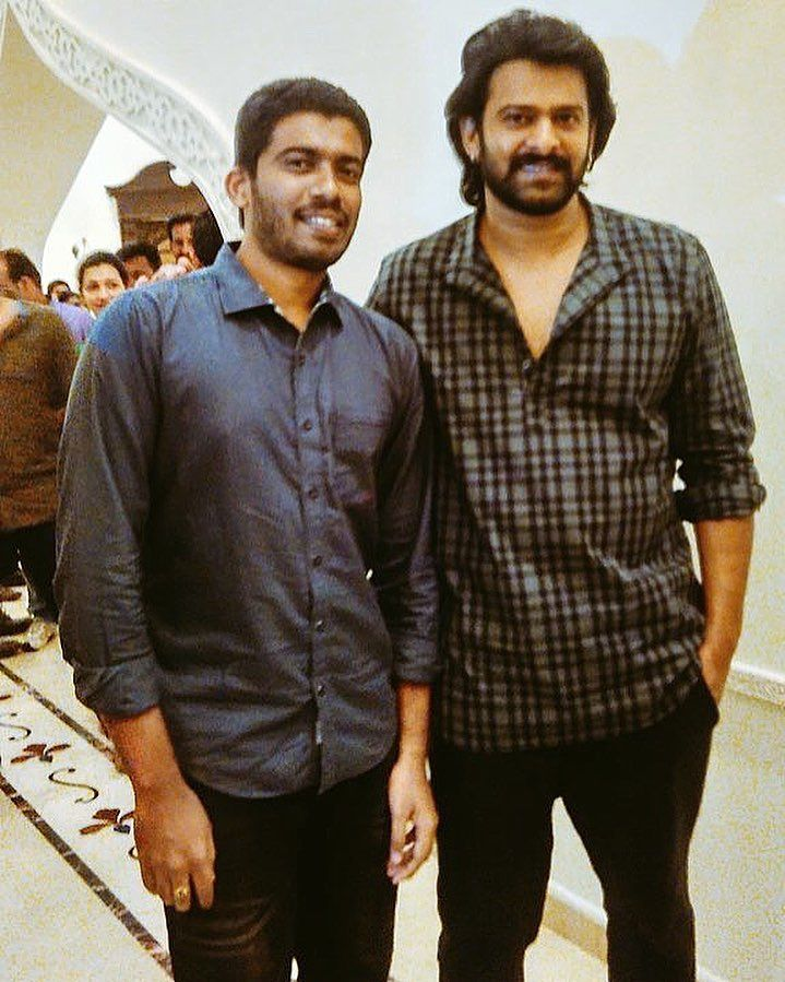"""New pic: Prabhas with fan . . .  """"Bhargav Gadde (fan): After a short conversation with #Prabhas last night, uber cool & loving person. One of the best moments of 2016., Delighted """""""