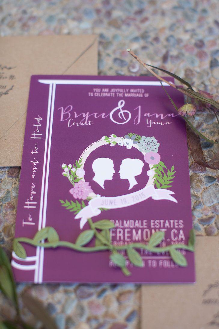 mini book wedding invitations uk%0A Purple BookInspired Silhouette Wedding Invitation   Joleen Willis  Photography https   www
