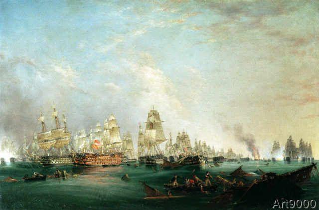 Lieutenant Robert Strickland Thomas - Surrender of the 'Santissima Trinidad to Neptune, The Battle of Trafalgar, 3pm, 21st October 1805