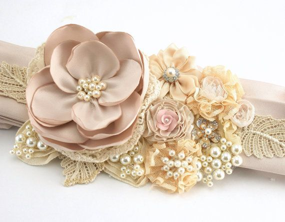 Bridal Sash in Ivory, Champagne, Gold and Blush Pink with Satin, Chiffon, Lace, Pearls and Crystal Jewels- Vintage Dream