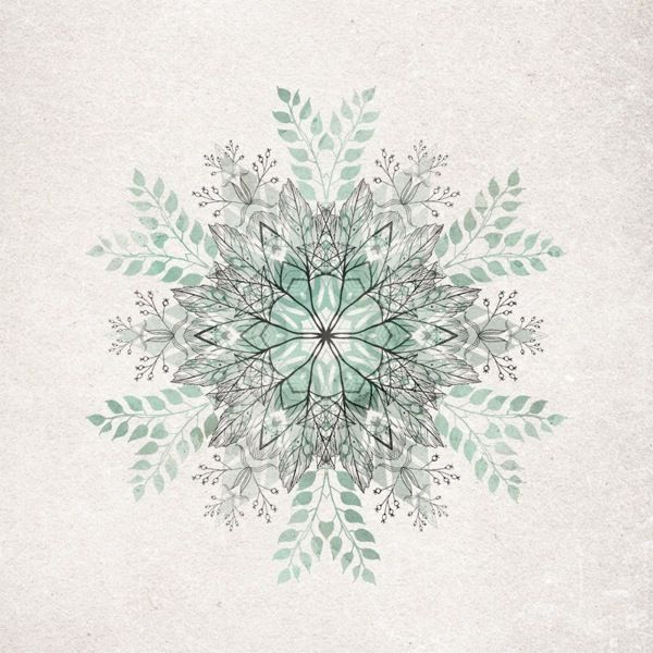 By David Fleck - Inspired by fragments of woodlands and nature, these hand drawn snowflakes are comprised of complex mixtures of leaves, berries, feathers and antlers.