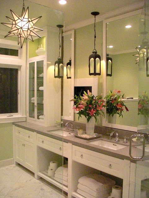 57 best bathroom vanity lighting images on pinterest for Pendant light bathroom vanity