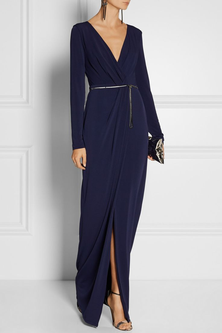 Halston Heritage | Wrap-effect stretch-jersey gown