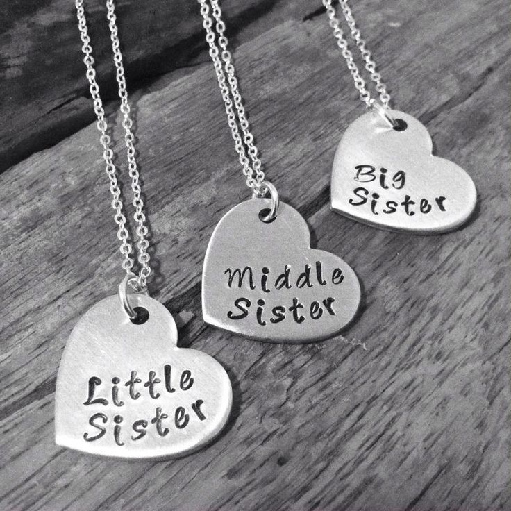 SALE! Sister Necklace, Matching Little Sister Middle Sister and Big Sister Necklace Set Of 3, Gift For Big Sis Middle Sis Little Sis by PreciousPodsBySarahO on Etsy https://www.etsy.com/listing/198845791/sale-sister-necklace-matching-little