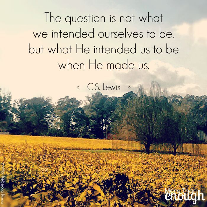 """The question is not what we intended ourselves to be, but what He intended us to be when He made us. He is the inventor, we are only the machine. He is the painter, we are only the picture..."" C.S. Lewis, Mere Christianity"