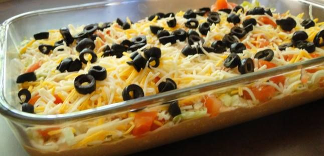 Ingredients: 8 oz 1/3 less fat Philadelphia cream cheese 8 oz reduced fat sour cream 16 oz jar mild salsa 1/2 packet taco seasoning 2 cups iceberg lettuce, shredded fine 2 large tomatoes, seeds removed and diced 1 cup reduced fat shredded cheddar cheese 2.25 oz sliced black olives Directions: In a l…