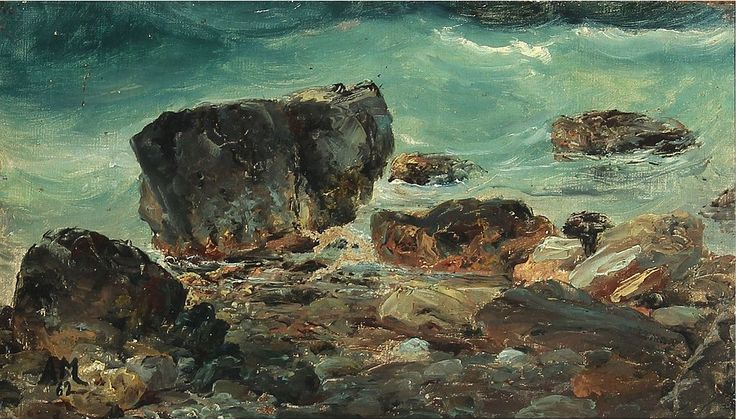 """Coastal scene with larger rocks"" by Anton Melbye ,Completion Date: 1862."