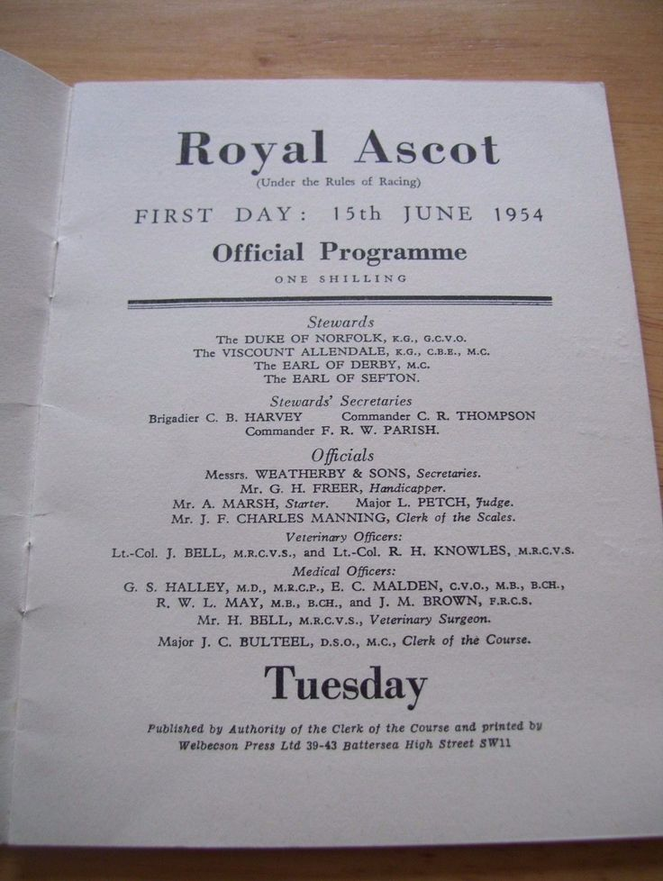 ROYAL ASCOT 1954 RACE CARDS FIRST, SECOND, THIRD DAYS. horse racing | eBay
