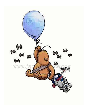 The Art of James Hance - http://thegamerwithkids.com/2010/09/02/the-art-of-james-hance/wookiee-balloon/#main