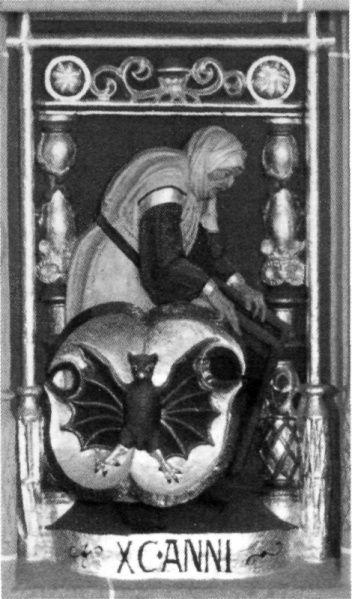 Franz Magdeburg (Maidburg), Die 90jährige Frau in einem Zyklus mit Darstellungen der Lebensalter. Annaberg/Sa., Annenkirche, Empore. Um 1519-1524/ 1525 (Fassung). Foto Constantin Beyer, Weimar.