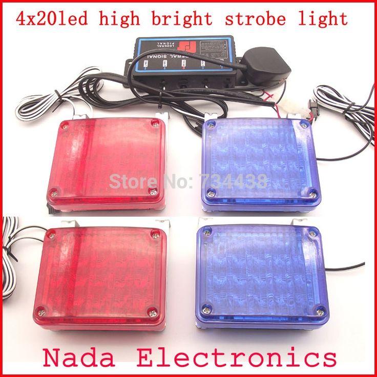 80.00$  Buy here - http://aliti0.worldwells.pw/go.php?t=32686324176 - 4x20LED car strobe Lights high bright Police Warning lights square Emergency flash light DC 12V RED BLUE WHITE