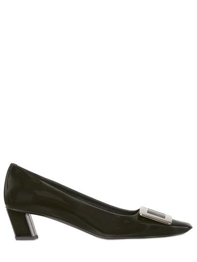 ROGER VIVIER 45MM BELLE VIVIER PATENT LEATHER PUMPS, BLACK. #rogervivier #shoes #pumps