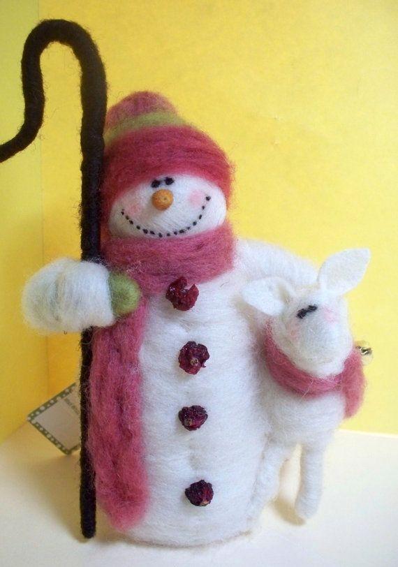 Snowman Shepherd Felted Wool Ornament/Figurine by WhimsicalWoolies, $35.00